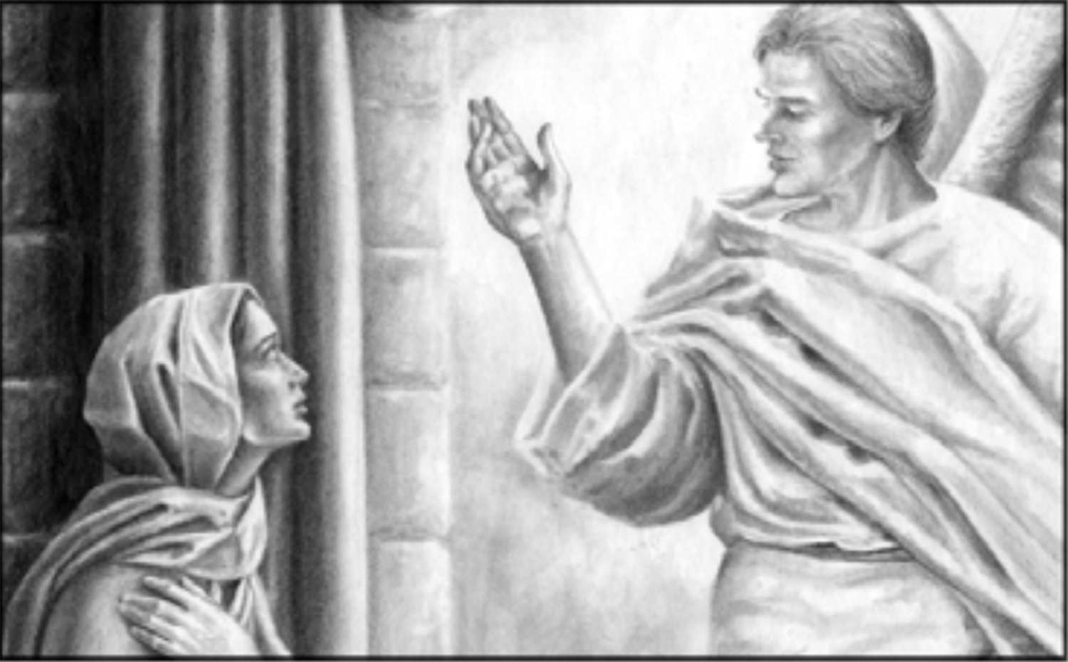 Angel speaking to a woman